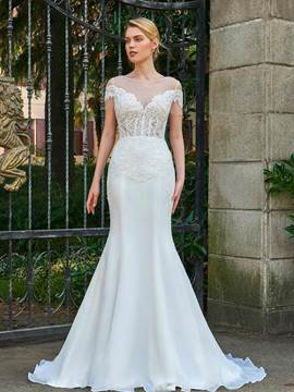 Ericdress Short Sleeves Mermaid Appliques Wedding Dress