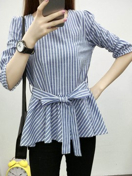 Ericdress Stripe Falbala Belt T-shirt