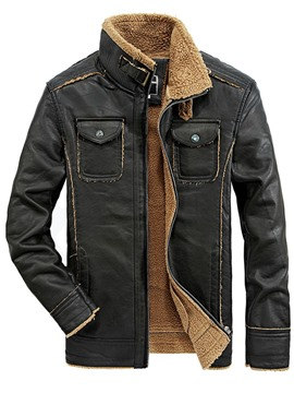 Ericdress Pocket Patched Zip Flocking Warm Men's Jacket