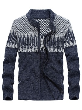 Ericdress Round Collar Printed Zipper Men's Cardigan Sweater