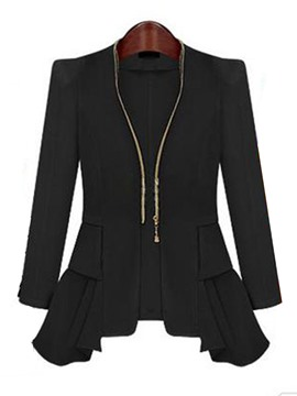 Ericdress Slim Mid-Length Zipper Blazer
