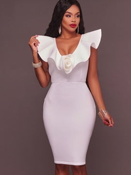 Ericdress Ruffle Sleeve V-Neck Patchwork Bodycon Dress