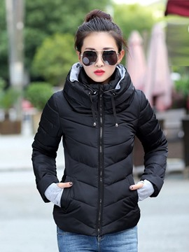 EricdressSlim Short Zipper Down Coat