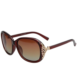 Ericdress Shining Diamante Big Frame Polarized Sunglasses