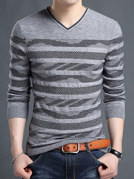 Ericdress Vogue Stripe V-Neck Slim Men's Sweater