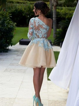 Ericdress One Shoulder Long Sleeve Applique Short Homecoming Dress