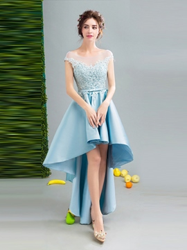 Ericdress A Line Cap Sleeve Applique High Low Asymmetry Homecoming Dress