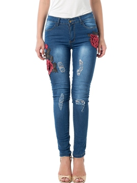 Ericdress Embroidery Floral Hole Jeans