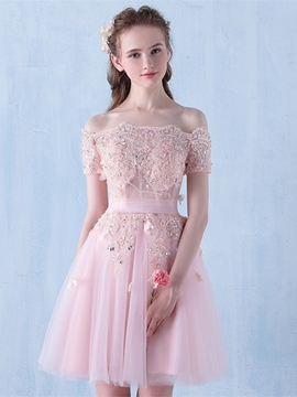 Ericdress Short A Line Off The Shoulder Applique Beaded Homecoming Dress