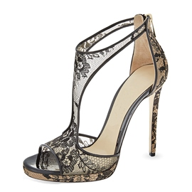 Ericdress Peep Toe Lace Stiletto Sandals