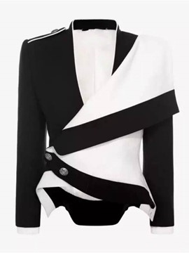 Ericdress Color Block Asymmetric Epaulet Jacket