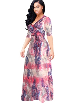 Ericdress V-Neck Print High-Waist Maxi Dress