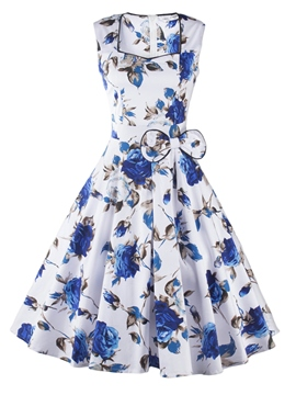 Ericdress Square Neck Print Bowknot A Line Dress