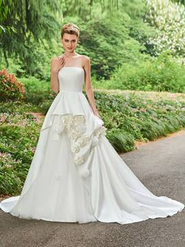 Ericdress Illusion Neckline Ball Gown Matte Satin Flowers Wedding Dress