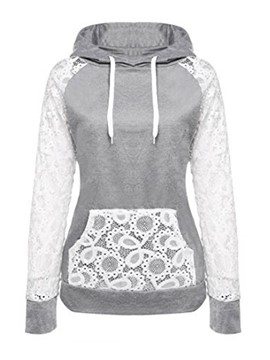 Ericdress Pullover Patchwork Lace Cool Hoodie