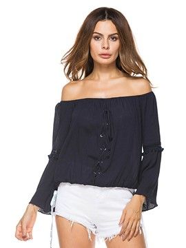 Ericdress Slash Neck Plain Flare Sleeve T-shirt