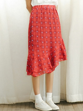 Ericdress Asymmetric Ruffles Usual Skirts