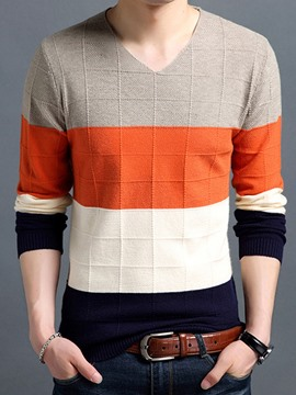 Ericdress V-Neck Plaid Color Block Men's Pullover Sweater