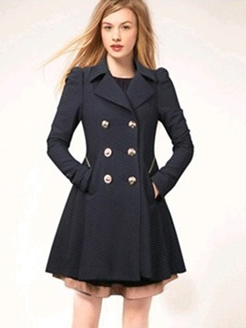 ericdress solapa mediados de-longitud breasted trench coat