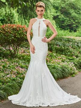 Ericdress Halter Mermaid Appliques Tulle Wedding Dress