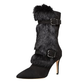 Ericdress Buckle Fuzzy Pointed Toe High Heel Boots