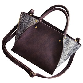 Ericdress Vogue Snakeskin Pattern Color Block Handbag