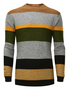 Ericdress Round Collar Patchwork Stripe Men's Sweater