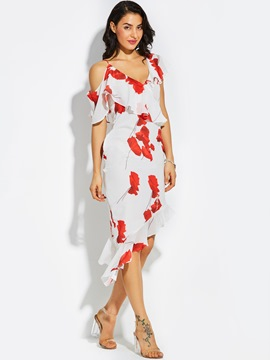 Ericdress Falbala Cold -the- Shoulder Bodycon Floral Sheath Dress
