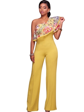 Ericdress Embroidery Asymmetric Ruffles Jumpsuits Pants