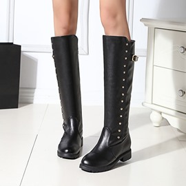 Ericdress Fall&Winter Rivet Plain Women's Knee High Boots