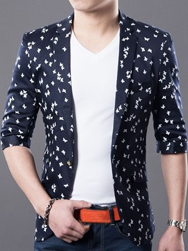 EricdressThree Quarter Sleeve Print Casual Men's Blazer