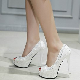 Ericdress Rhinestone Peep Toe Stiletto Heel Pumps