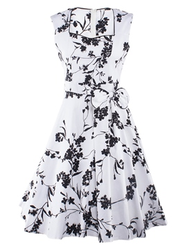 Ericdress Print Bowknot Expansion A Line Dress