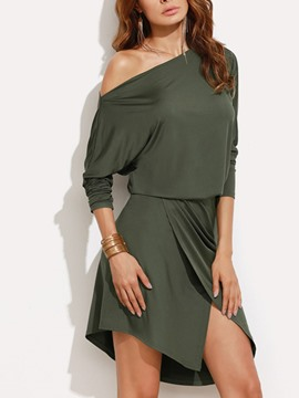 Ericdress Batwing Sleeve Solid Color Asymmetrical Bodycon Dress