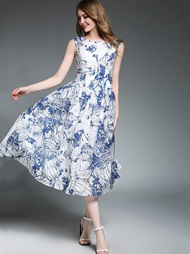 Ericdress Scoop Floral Expansion Maxi Dress