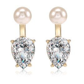 Ericdress Pear Cut Rhinestone Pearl Earring for Women
