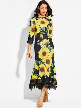 Ericdress Round Neck Sunflower Print Maxi Dress