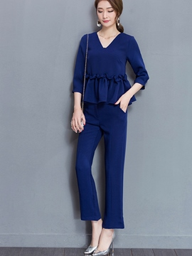 EricdressV-Neck Ruffles Leisure Suits