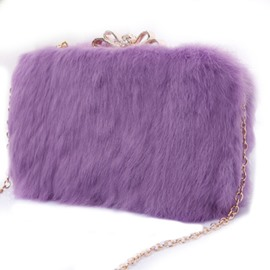 Ericdress Solid Color Plush Cross Body Bag