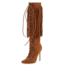 Ericdress Fashion Tassel Lace-Up Knee High Boots