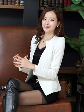 Ericdress Slim Plain One Button Blazer