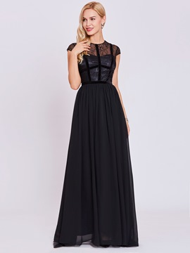 Ericdress Scoop Neck Cap Sleeve Zipper-Up A Line Evening Dress