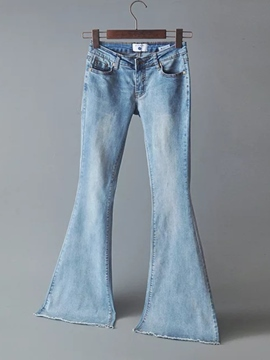Ericdress Low-Waist Bellbottoms Tassel Jeans