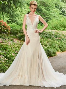 Ericdress V Neck Backless Mermaid Appliques Color Wedding Dress