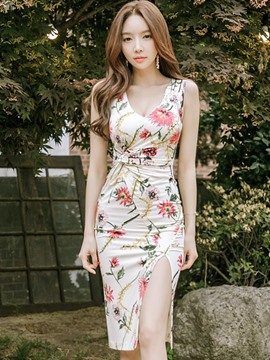Ericdress Floral Sleeveless Split Bodycon Dress