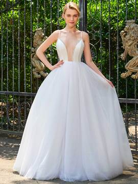 Ericdress Spaghetti Straps V Neck Backless Ball Gown Wedding Dress