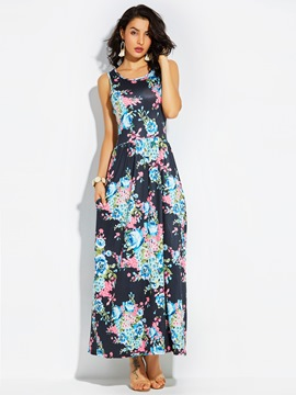 Ericdress Round Neck High-Waist Flower Print Maxi Dress