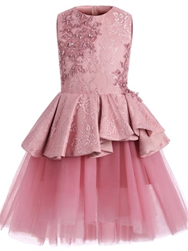 Ericdress Jewel Appliques Beaded Knee Length Flower Girl Dress
