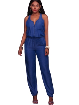Ericdress Pocket Denim Jumpsuits Pants