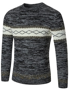 Ericdress Color Block Jacquard Casual Pullover Men's Sweater